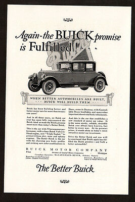 1925 Better BUICK Vintage Original Print AD - Car art, promise is fulfilled
