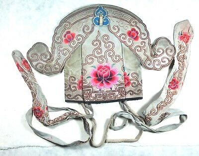 ANTIQUE CHINESE CHINA MEN OPERA THEATER HAT QING SILK FLOWER EMBROIDERY 19ThC