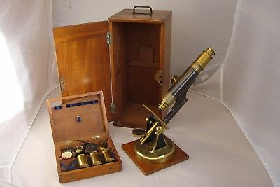 Antique Monocular Brass  Presentation Microscope 1863