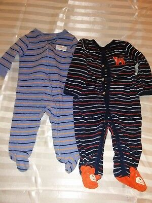 2 Carter's Infant Boys Outfits with Feetys Attached 6M