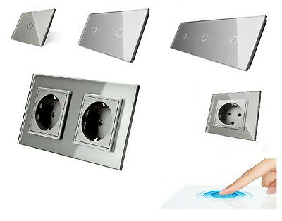 Livolo Glass Touch Switch Light Switch Sockets Toggle switch in grey