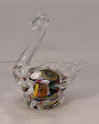 Colorful hand blown crystal swan paperweight from Poland label