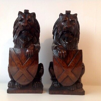 Pair Of 19th Century Or Earlier Carved Oak Lion Newel Post Finials