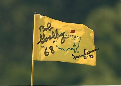 TOMMY AARON+BOB GOALBY HAND SIGNED 5x7 COLOR PHOTO OF MASTERS FLAG