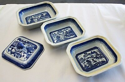 4-Piece 18th Century Blue & White Chinese Export Canton Covered Dishes & Lid