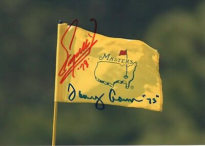 FUZZY ZOELLER+TOMMY AARON HAND SIGNED 5x7 COLOR PHOTO OF MASTERS FLAG