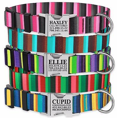 Personalized Dog Collar Engraved Side Release Buckle Nylon Collars for Dogs S L