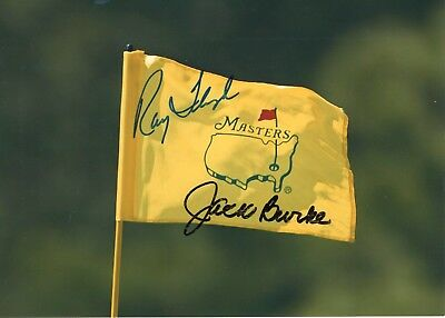 RAY FLOYD+JACK BURKE HAND SIGNED 5x7 COLOR PHOTO OF MASTERS FLAG
