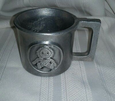 VINTAGE RAGGEDY ANN And Andy PEWTER 6 oz Drinking Mug Childrens Cup Metal