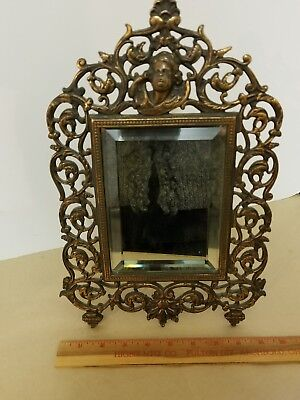 antique, victorian, brass table.top beveled mirror.