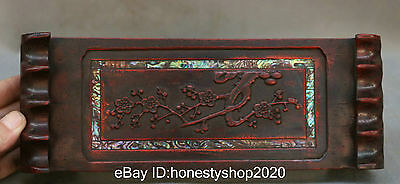 """Pen Rack and Paper Weight  10"""" Huang Hua Li Wood Carving Plum Tree Inlay Shell"""