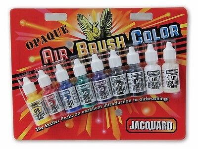 Jacquard Airbrush Colors - Opaque Exciter Pack (9 x 14ml Bottles)