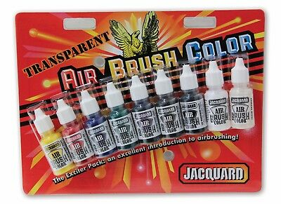 Jacquard Airbrush Colors - Transparent Exciter Pack (9 x 14ml Bottles)