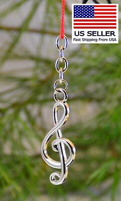Music Keychain, Silver Treble, Nice Gift