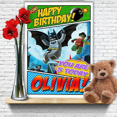 Extra Large Batman Personalised A4 Birthday Card Lego Robin Son