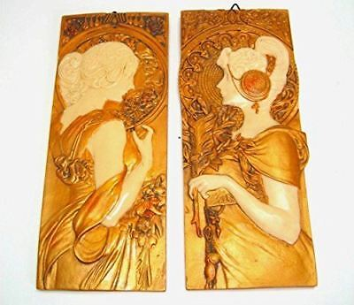 PAIR Mucha Style Antique Gold Effect Wall Plaques Art Nouveau Spring and Autumn