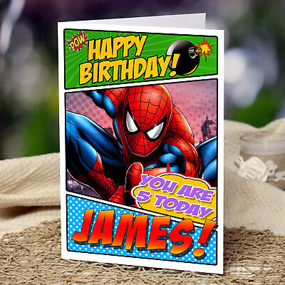 Extra large spider man personalised a4 birthday card spiderman extra large spider man personalised a4 birthday card spiderman son nephew bookmarktalkfo Gallery