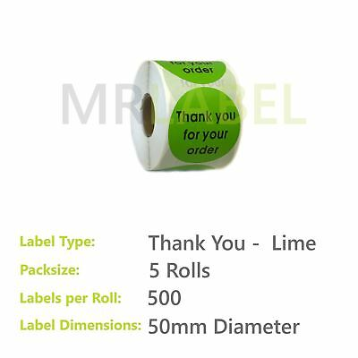 Pack of 5 - Thank you for your order LIME - 50 mm diam