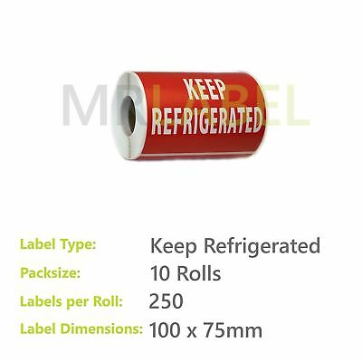 Pack of 10 - Keep Refrigerated - 100 x 75 mm