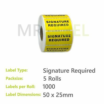 Pack of 5 - Signature Required - 50 x 25 mm