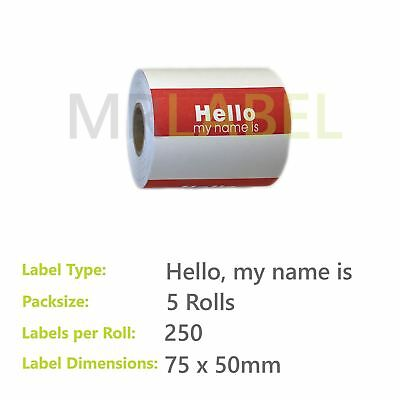 Pack of 5 - Hello, my name is - 75 x 50 mm