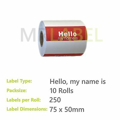 Pack of 10 - Hello, my name is - 75 x 50 mm