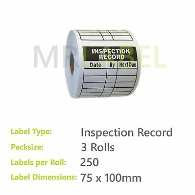 Pack of 3 - Inspection Record