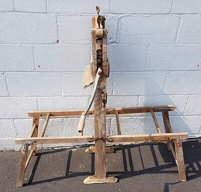 Antique Vintage Anchor Brand Wooden Clothes Wringer & Folding Bench