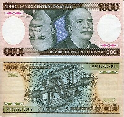 BRAZIL 1000 Cruzeiros Banknote World Money Currency South America Note p201 Bill