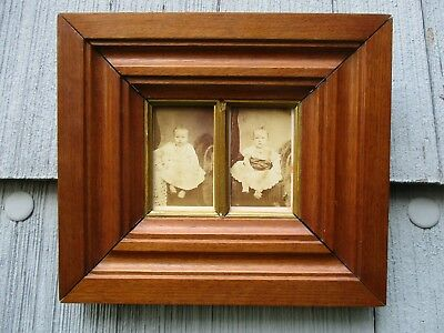 NICE Antique Solid Walnut Double CDV Photo Picture Frame