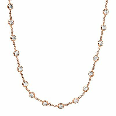 Cubic Zirconia Station Necklace in 14K Rose Gold-Plated Sterling Silver