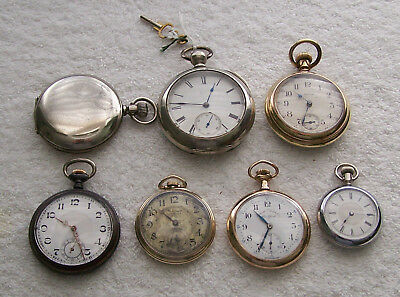 Vintage Lot Of 7 Pocket Watches All Run