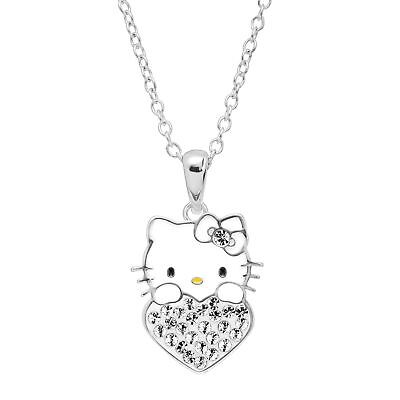 Girl's Hello Kitty April Heart Pendant with Crystals in Silver-Plated Brass