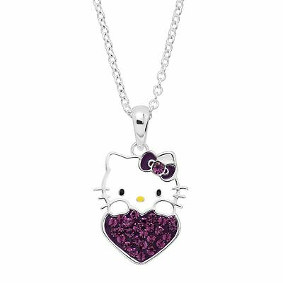 Girl's Hello Kitty February Heart Crystal Pendant in Silver-Plated Brass