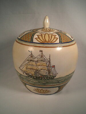 Vtg Large Lidded Jug / Ginger Jar / Vase Painted Pottery ~ Masted Sailing Ship