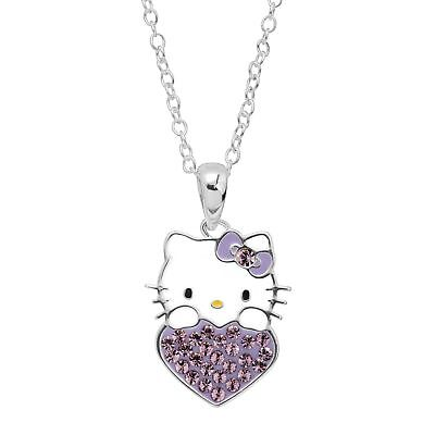 Girl's Hello Kitty June Heart Pendant with Crystals in Silver-Plated Brass