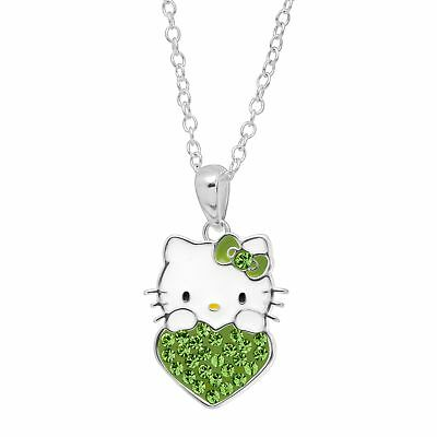 Girl's Hello Kitty August Heart Pendant with Crystals in Silver-Plated Brass