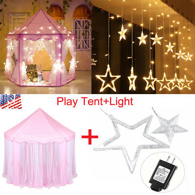 Princess Castle Play House Outdoor Kids Play Tent+138LED 2.5M Star String Lights