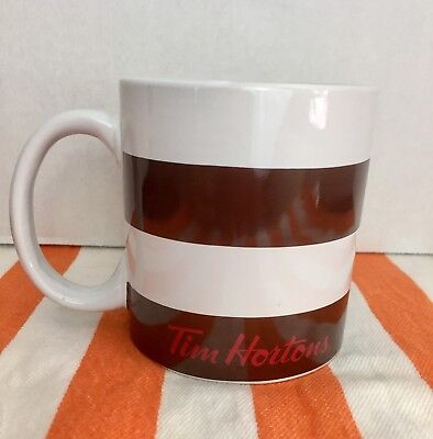Tim Hortons Coffee Cup Mug 2016 Brown and White striped, Red inside