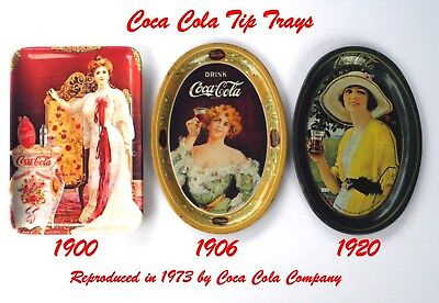 LOT 1900, 1906, 1920 COCA-COLA Tip Change Trays Repos 1973 44yrs old