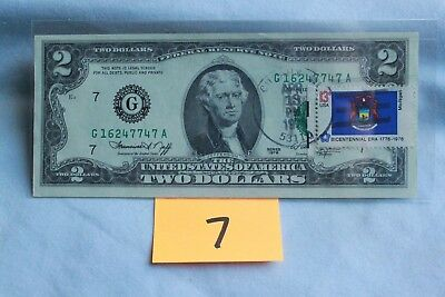$2 Bill 1976 Bicenntennial First Day Stamped Federal Reserve Note Cudahy, WI