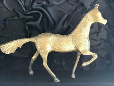 vintage solid hand carved brass horse collectible hand made in Morocco