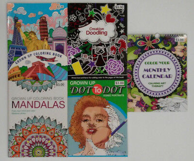 Grown Up Coloring Books - Set of 5