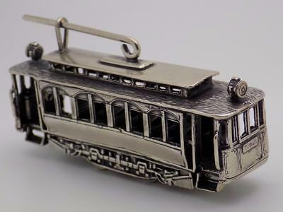 101.55g/3.582-oz Vintage Solid Silver Tram Miniature, Figurine, Stamped, Italian