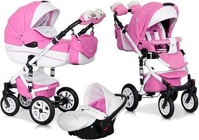 RIKO BRANO ECCO PINK 18 PRAM 3in1 CARRYCOT + PUSH CHAIR + CAR SEAT