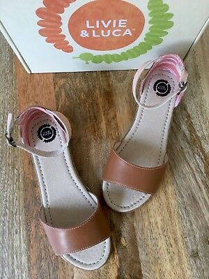 NIB LIVIE AND LUCA GEORGIE Vint Cognac Leather Sandals Shoes For Girls, Size Y3