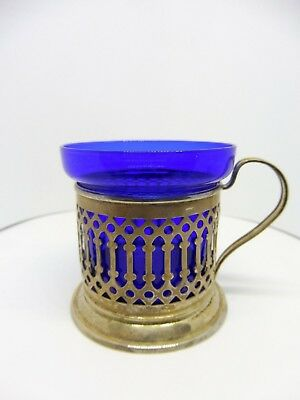Sterling Silver Mustard Pot Or Condiment Holder With Cobalt Liner