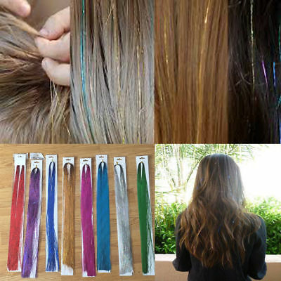 100 x Strands Holographic Sparkle Hair Glitter Party Tinsel Extensions Dazzles
