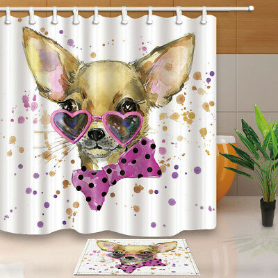 Watercolor Chihuahua Dog With Glasses Shower Curtain Bathroom Decor 12hooks