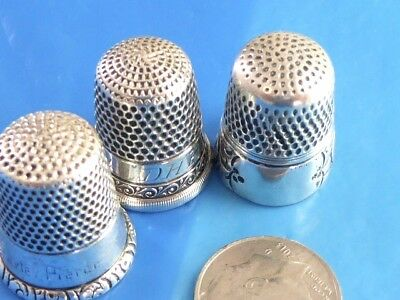 Lot Of 3 Antique Sterling Silver Sewing Thimbles Two Monogrmaed Sterling